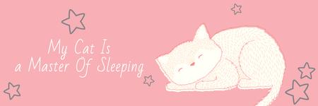 Cute Cat Sleeping in Pink Twitter Design Template