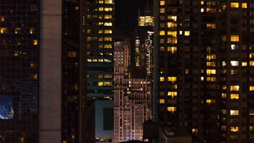Night Landscape of modern city skyscrapers