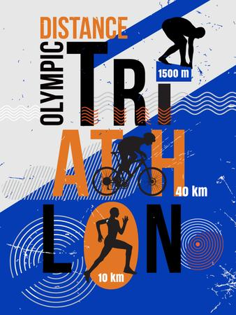 Ontwerpsjabloon van Poster US van Triathlon distance race announcement