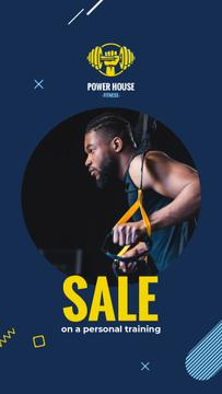 Gym Ticket Offer Man Resistance Training in Blue | Vertical Video Template