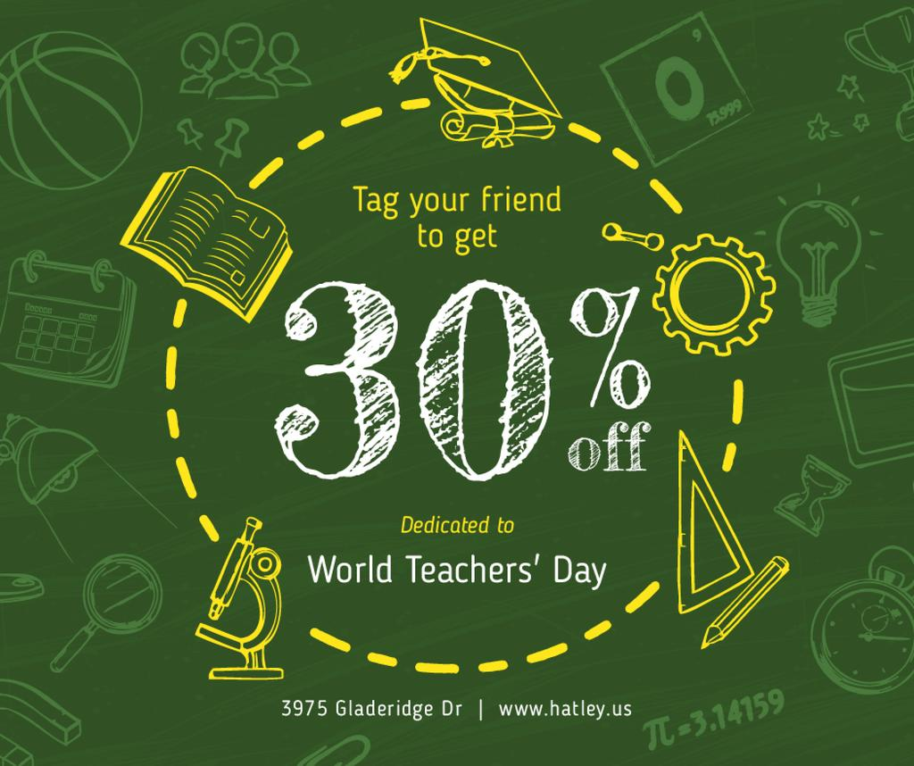 World Teachers' Day Sale Education Icons Frame — Maak een ontwerp