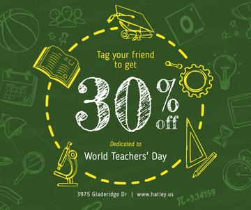 World Teachers' Day Sale Education Icons Frame | Facebook Post Template