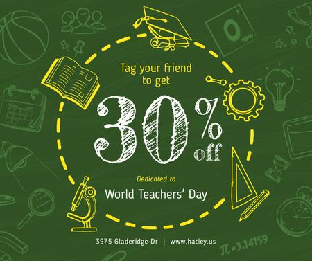 World Teachers' Day Sale Education Icons Frame Facebook – шаблон для дизайна