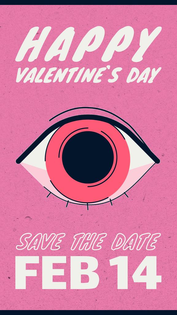 Lover's reflection in the eye on Valentine's Day — Modelo de projeto