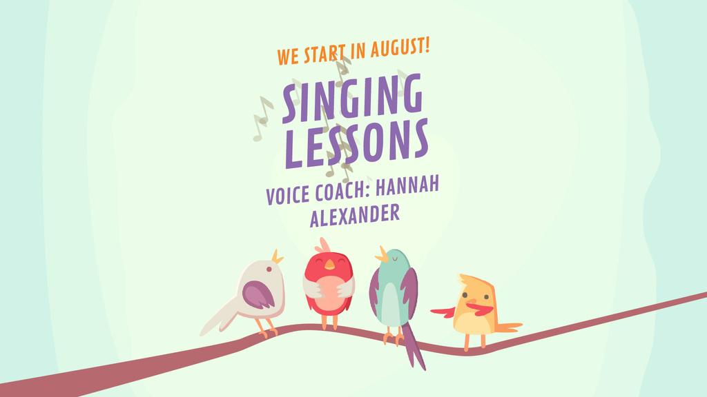 Vocal School Ad Birds Signing on Tree Branch — Створити дизайн