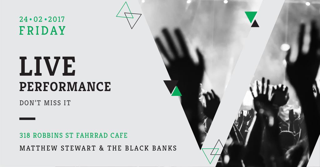 Plantilla de diseño de Live Performance Announcement with audience Facebook AD
