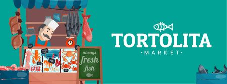Plantilla de diseño de Fish Shop Showcase with Smiling Seller Facebook Video cover