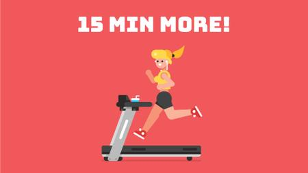 Plantilla de diseño de Girl Running on Treadmill in Red Full HD video