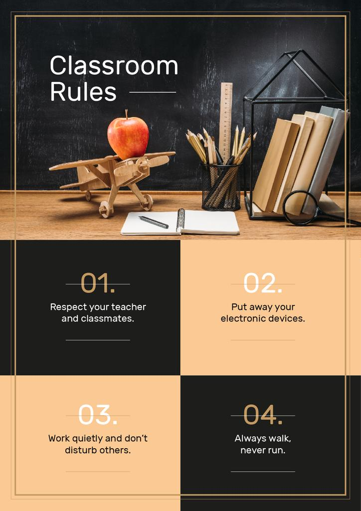 Classroom Rules with Stationery and Toy Plane on Table — Створити дизайн