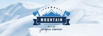 Mountaineering Equipment Company Icon with Snowy Mountains
