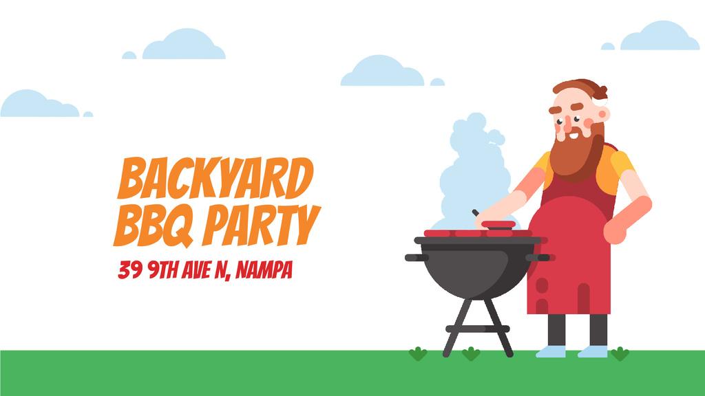 Barbecue Invitation Man by Grill — Crear un diseño