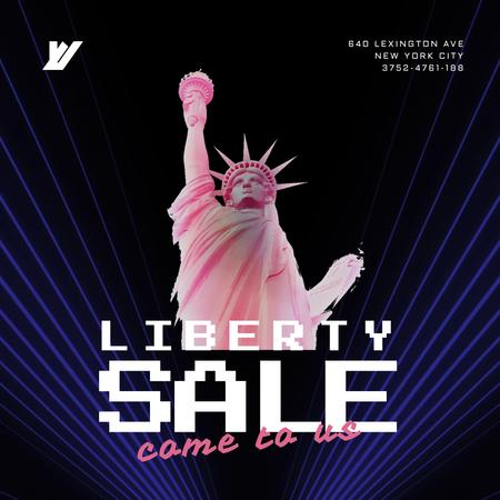 Plantilla de diseño de Independence Day Liberty Statue in Pink Animated Post