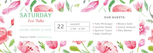 Plantilla de diseño de Eco Event Announcement Watercolor Flowers Pattern Tumblr