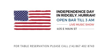 Modèle de visuel Independence Day Invitation with USA Flag on White - Twitter
