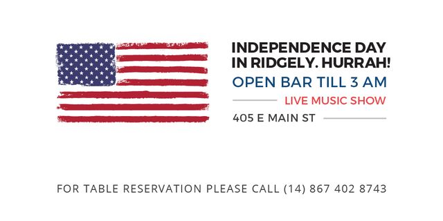 Plantilla de diseño de Independence Day Invitation with USA Flag on White Twitter