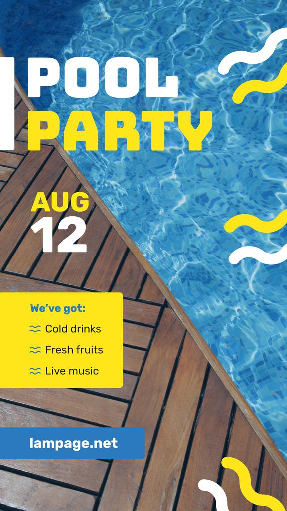 Pool Party Invitation Blue Water and Deck — Создать дизайн
