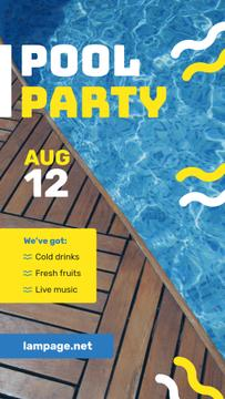 Pool Party Invitation Blue Water and Deck | Stories Template
