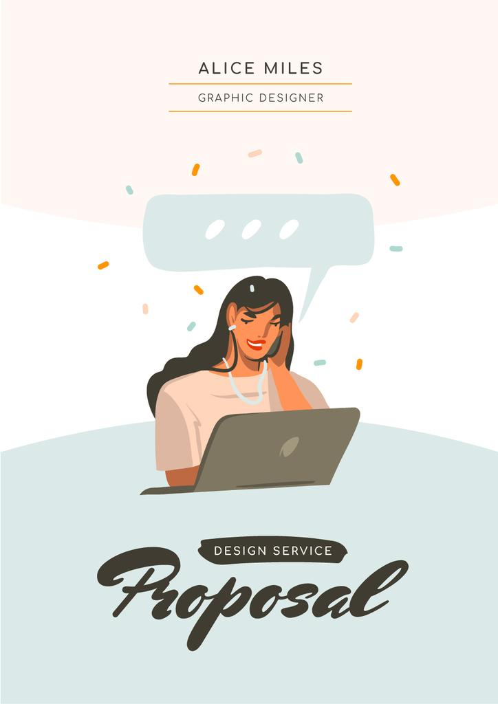 Designer Services offer with Woman by Laptop — Maak een ontwerp