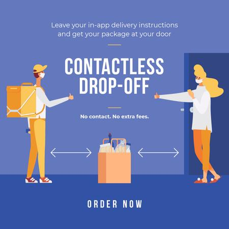 Plantilla de diseño de Delivery Services offer with courier and customer on Quarantine Instagram