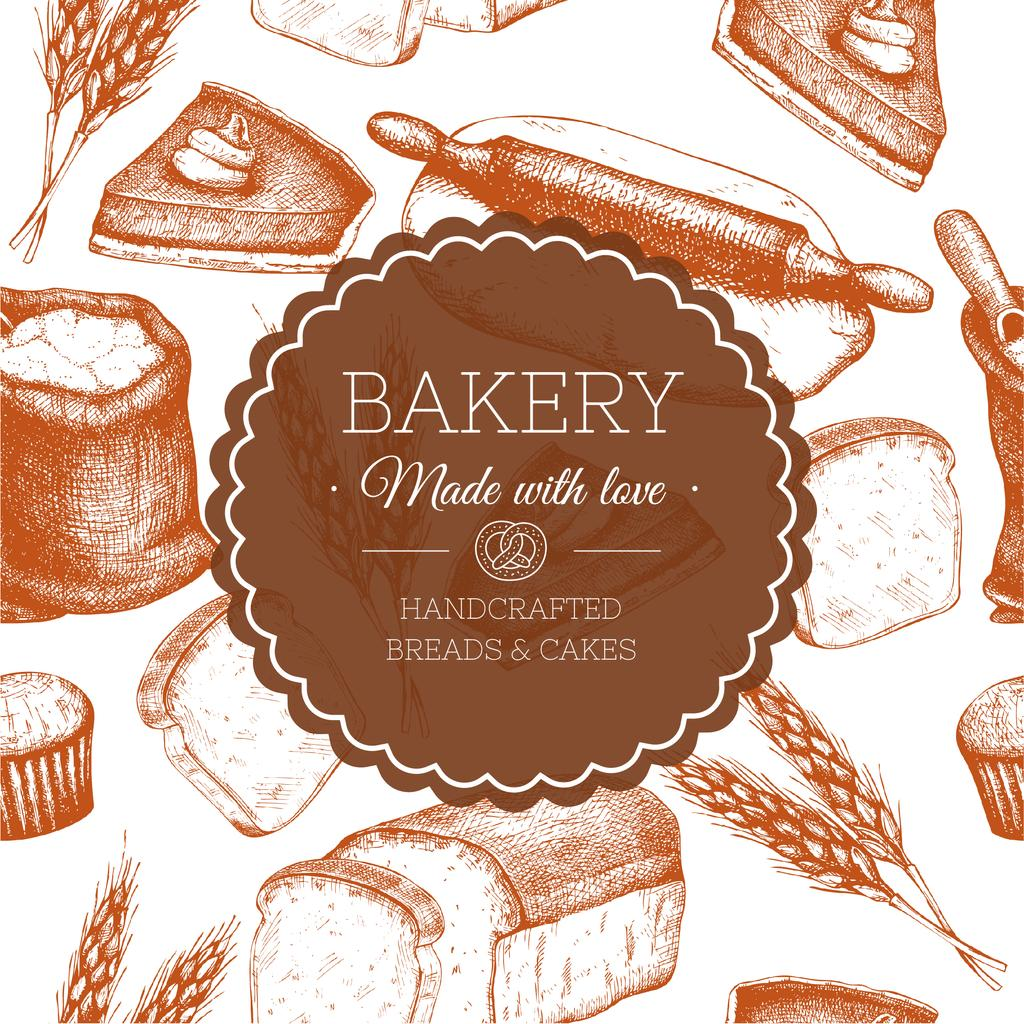 Bakery handdrawn poster — Modelo de projeto