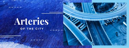 Plantilla de diseño de Overpass on city road Facebook cover