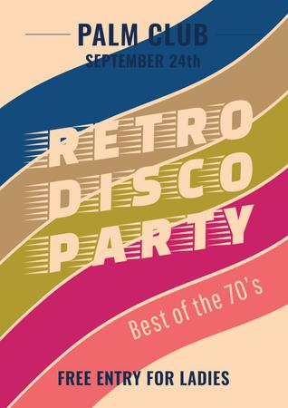 Plantilla de diseño de Retro Disco Party Announcement Poster