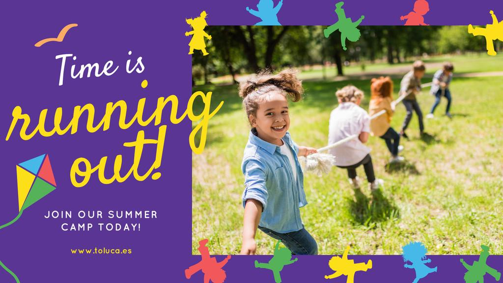 Summer Camp Invitation Kids Playing Outdoors — Créer un visuel