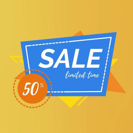 Sale Announcement in Simple Geometric Frame Animated Post Tasarım Şablonu