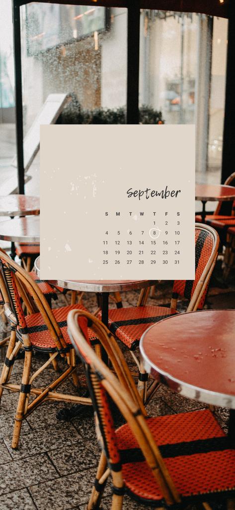Calendar on city Cafe view — Создать дизайн