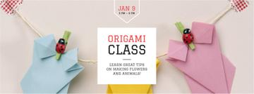Origami class Annoucement with paper figures
