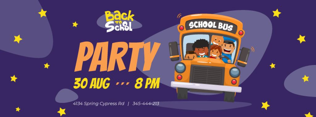 Back to School Party with Kids in School Bus — Crea un design