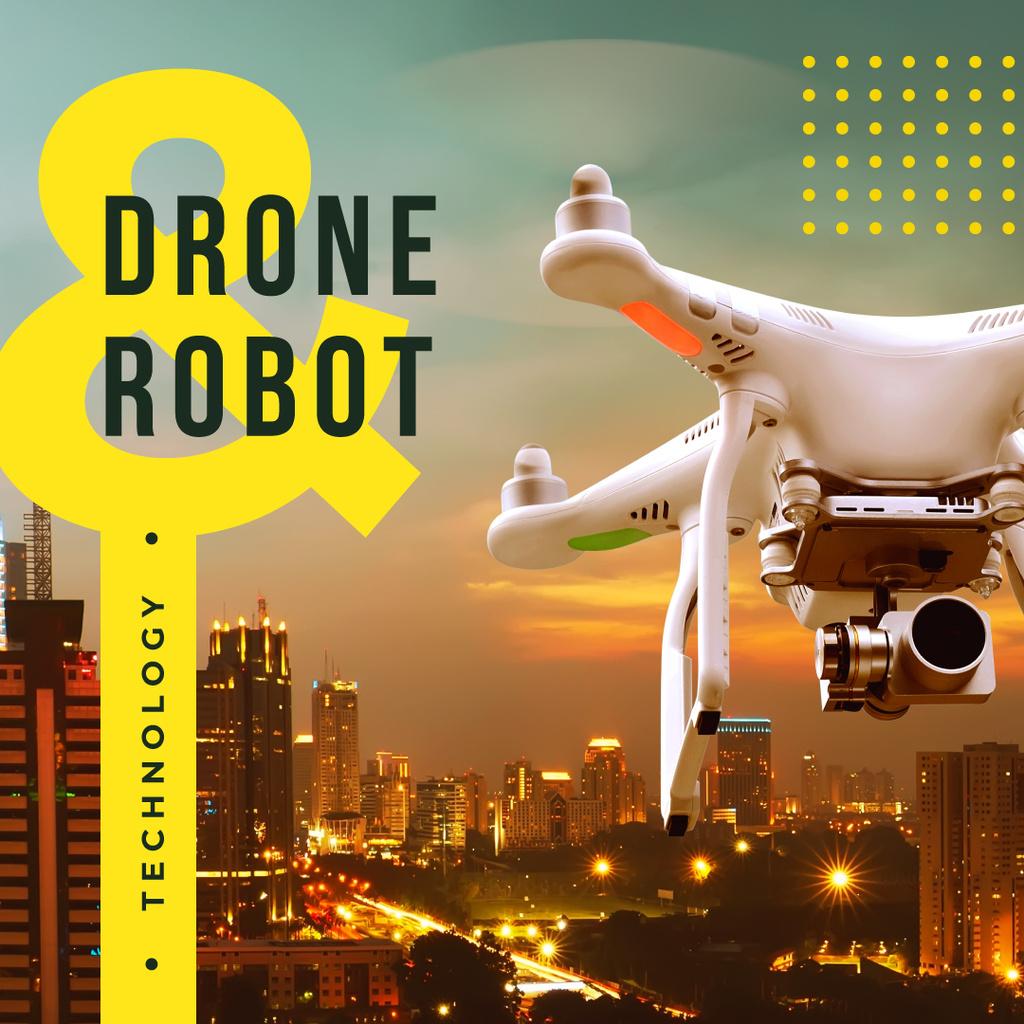 Plantilla de diseño de Drone flying in sky Instagram