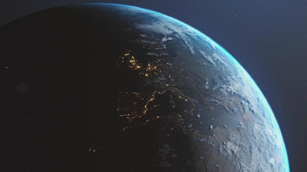 Rotating Planet Earth in Space — Maak een ontwerp