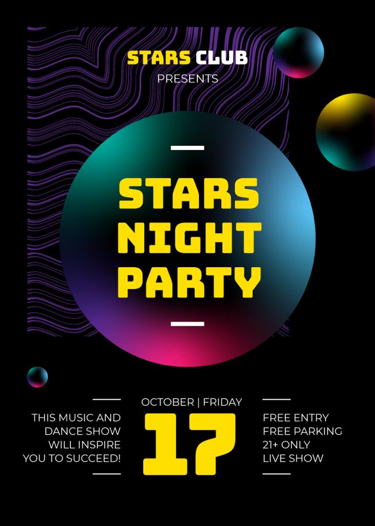 Night Club Invitation Glowing Spheres Pattern   Flyer Template — ein Design erstellen
