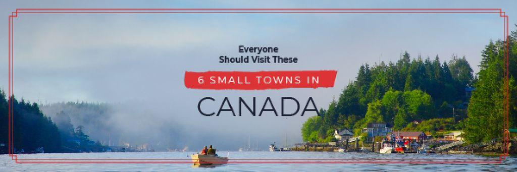 Plantilla de diseño de Travel Guide with Small Village by the Lake Email header
