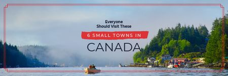 Plantilla de diseño de Travel Guide with Small Village by the Lake Email header