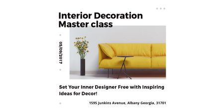 Plantilla de diseño de Interior decoration masterclass with Sofa in yellow Image