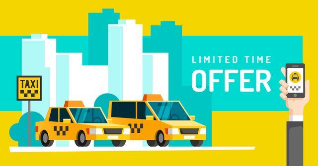 Modèle de visuel Man calling taxi by phone - Facebook AD