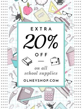 School Supplies Sale Advertisement Stationery Drawings | Poster Template
