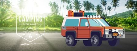 Designvorlage Four-wheel drive car in tropical forest für Facebook Video cover