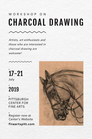 Plantilla de diseño de Charcoal Drawing Ad with Horse illustration Pinterest