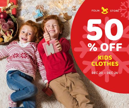 Christmas Offer Kids in Red Sweaters Facebook Modelo de Design