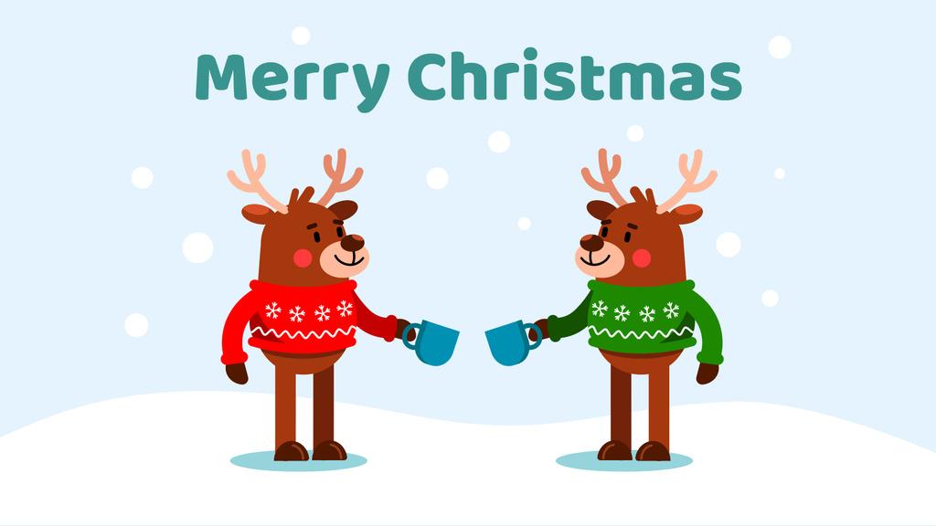 Happy deer in Christmas sweaters — Modelo de projeto