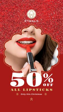 Szablon projektu Cosmetics Christmas Sale Woman Applying Lipstick Instagram Story