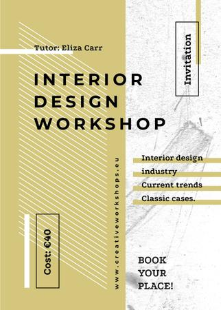 Design Workshop ad on geometric pattern Invitation Modelo de Design