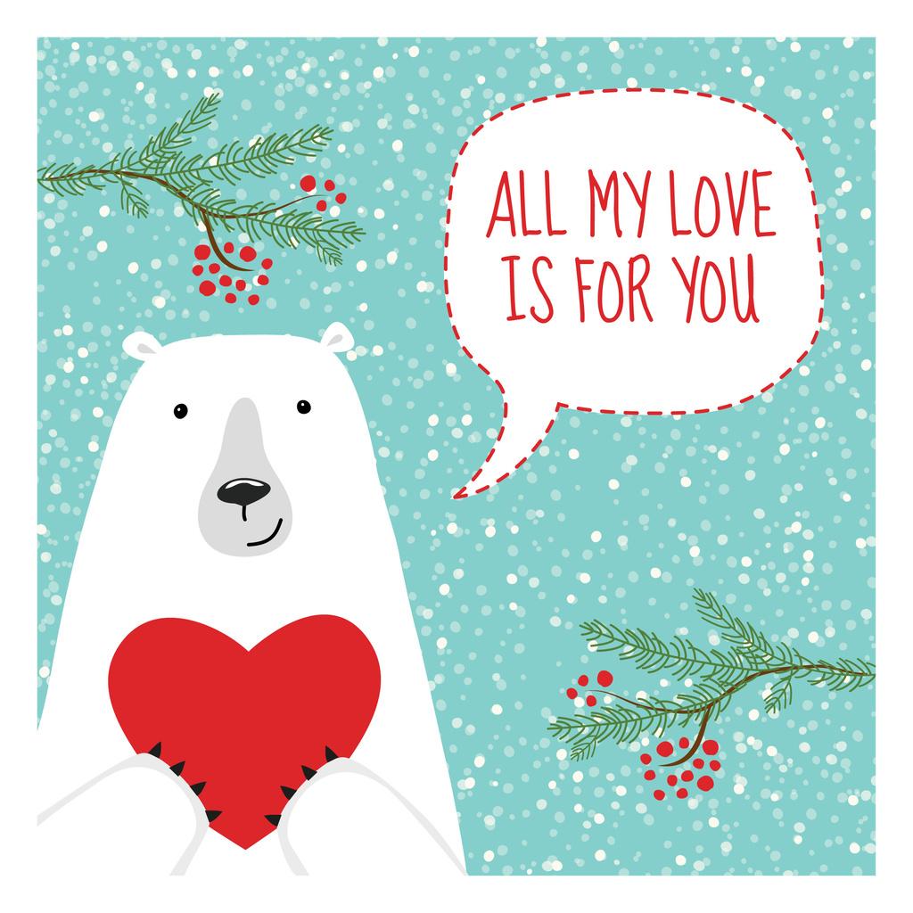 Ontwerpsjabloon van Instagram AD van Cute Bear with Red Heart