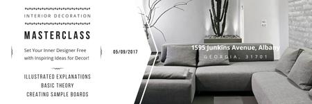 Interior Decoration Event Announcement Sofa in Grey Twitter Design Template