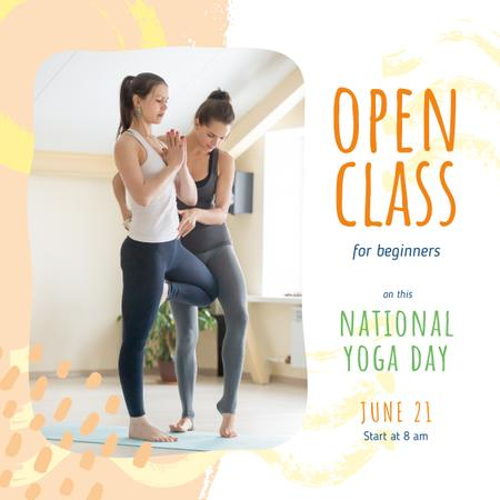 National Yoga Day with Woman practicing yoga with coach Instagram Design Template