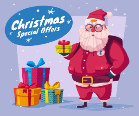 Plantilla de diseño de Christmas Holiday Sale Santa Delivering Gifts Medium Rectangle