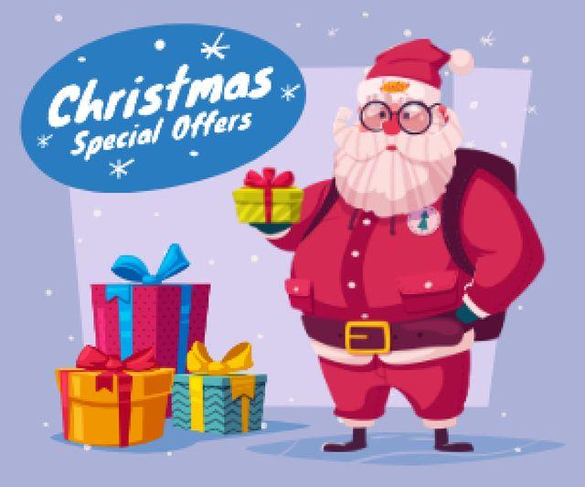 Designvorlage Christmas Holiday Sale Santa Delivering Gifts für Medium Rectangle